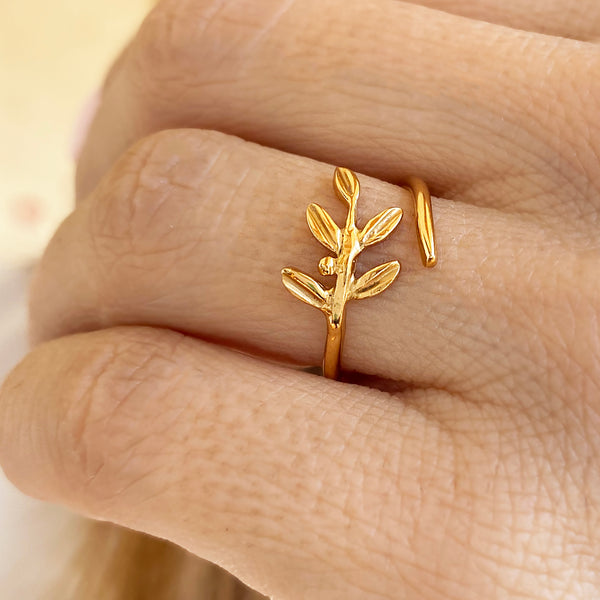 Olive Leaf Ring - Sterling silver 925 that is gold filled (22K)
