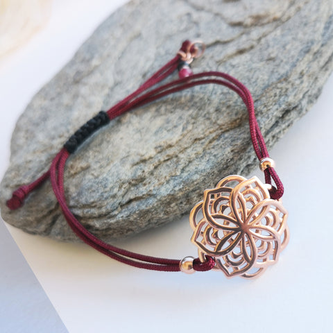 Rose gold Mandala Bracelet with Macrame