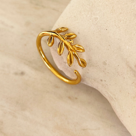 Botanical Ring - Olive Leaf Ring - Sterling silver 925 that is gold filled (22K)