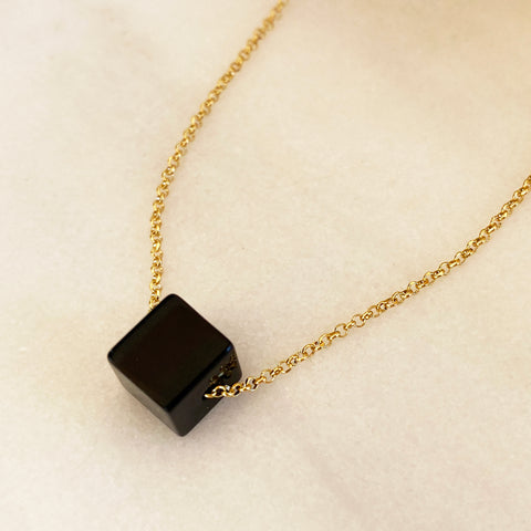 Onyx Necklace with a black cube pendant! Strength Necklace