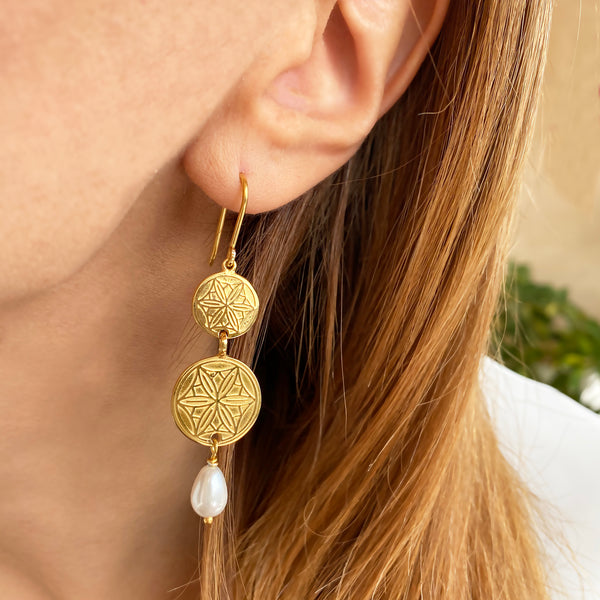 Gold Coin Earrings with Real Pearl drops and Greek Coins , Handmade in Greece