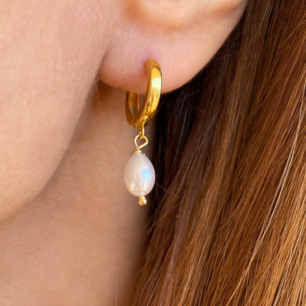 Real Pearl Hoop Earrings| Sterling Silver 925 that is 24K gold filled
