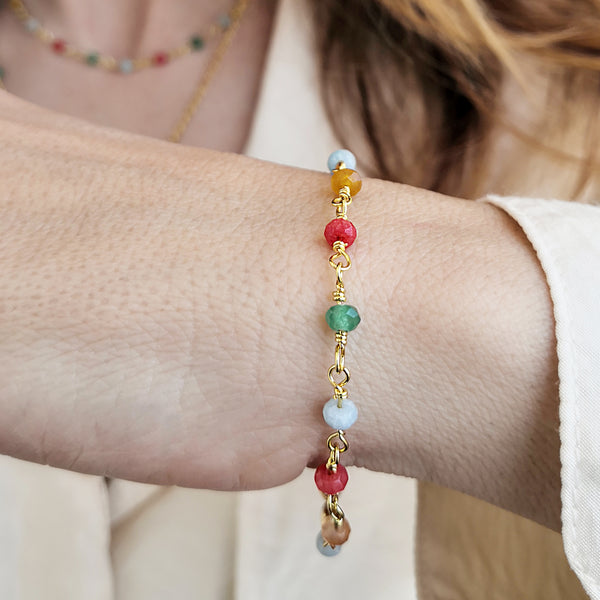 Colorfull rosary bracelet with agate gemstones
