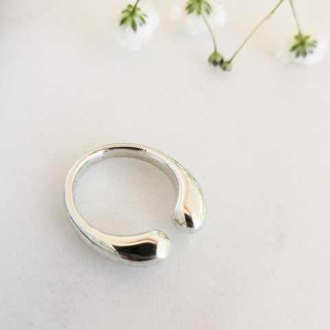 Open Circle Shiny Silver 925 Ring