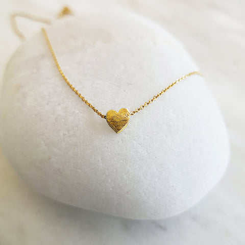 Gold heart necklace in minimal style! Sterling Silver 925