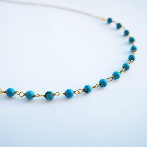 Turquoise Dainty Necklace with Turquoise gems and silver 925