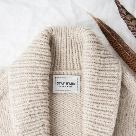 """Stay Warm Hand Knit"" woven label by Twig & Horn"