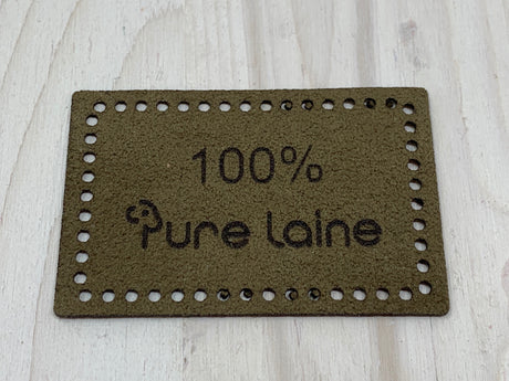 Faux Suede Label - 100% Pure Laine