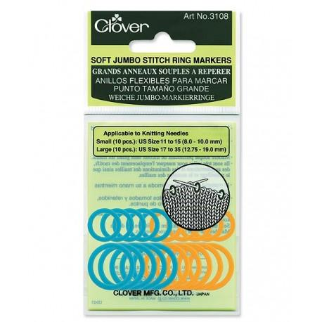 Soft Jumbo Ring Stitch Markers by Clover (10 ct)