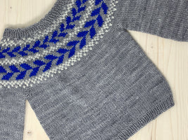 Ready-to-knit kit ''Marieke'' Baby Pullover by Anna Dervout