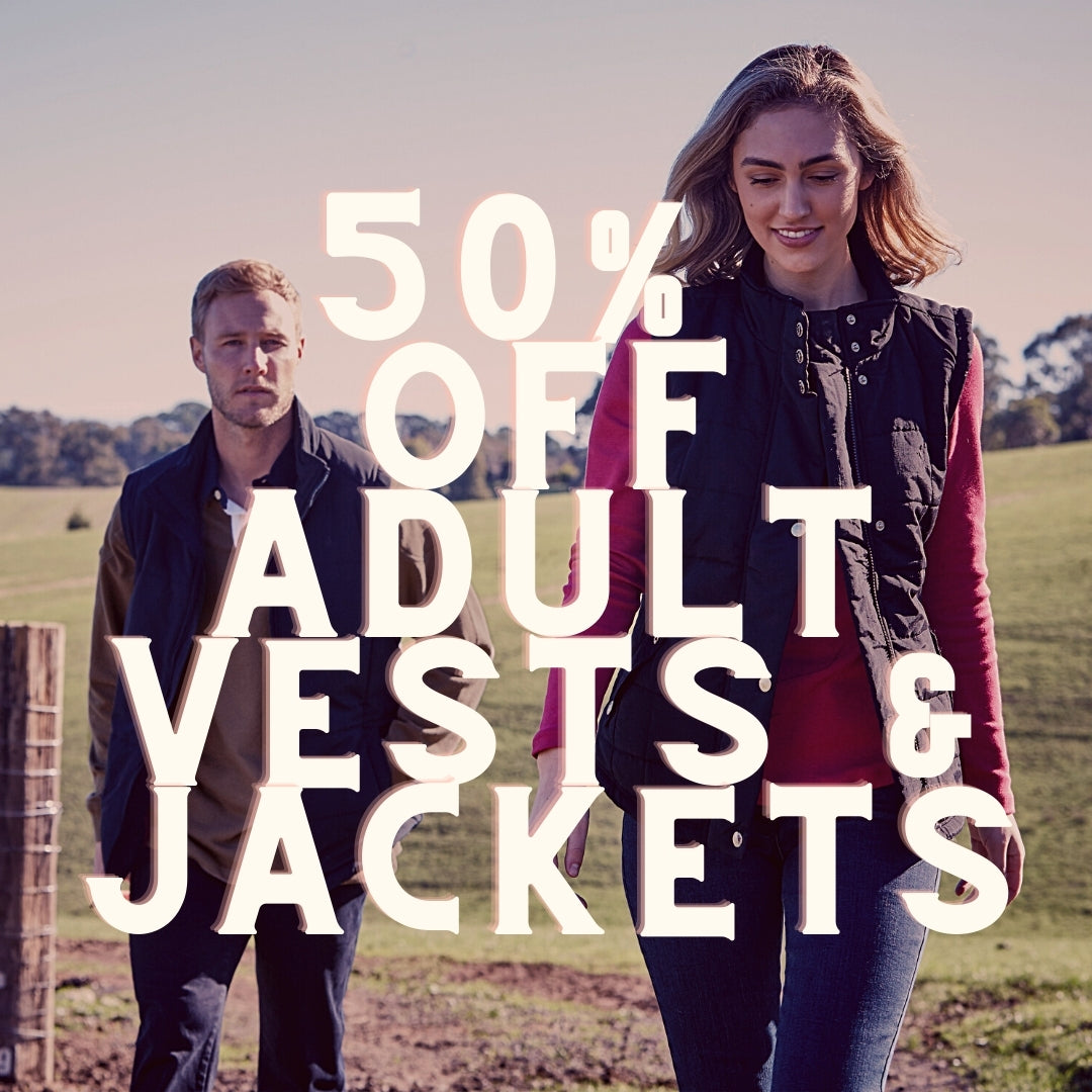 50% off adult vests & jackets