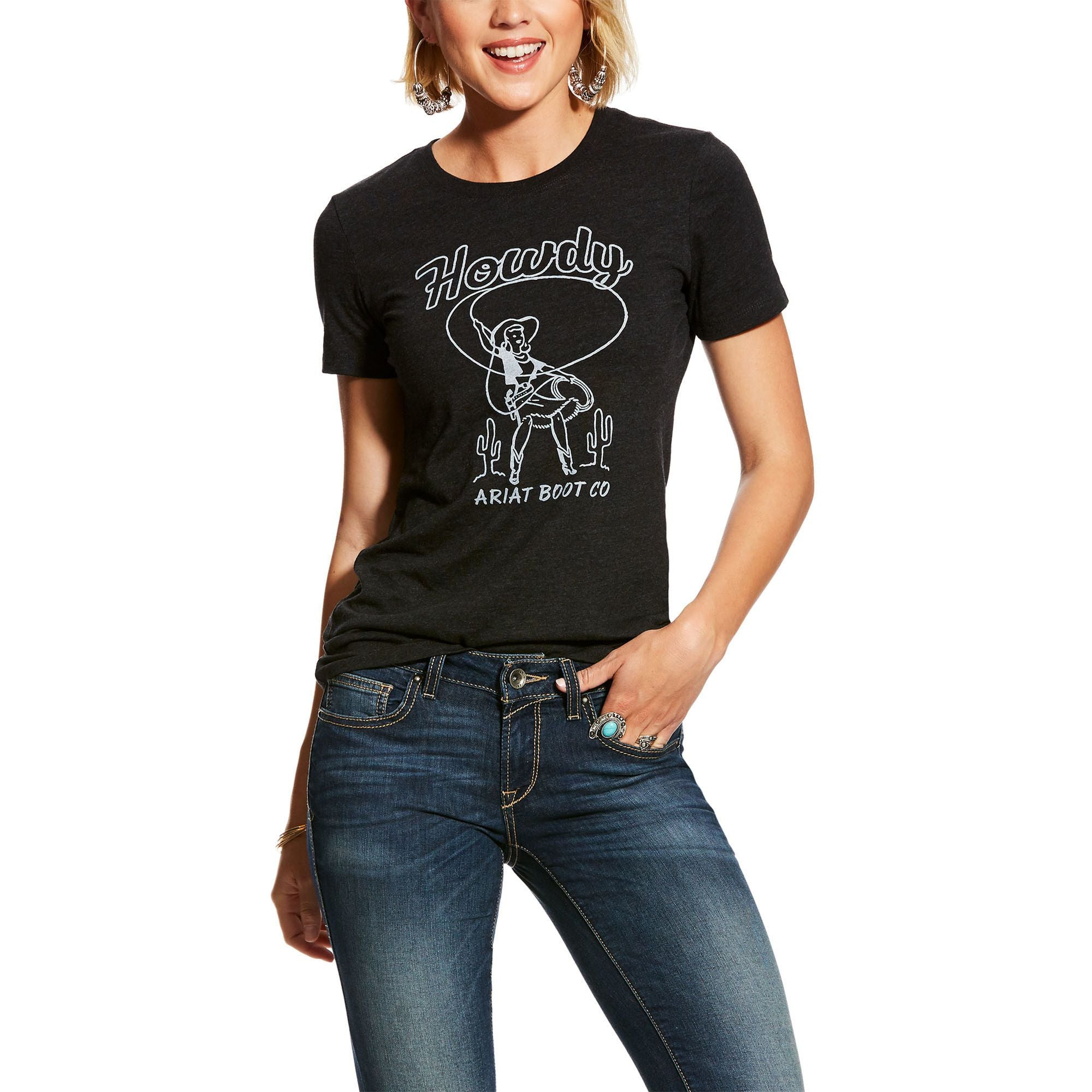 ARIAT WOMENS HOWDY WRANGLER TEE-Ranges Country