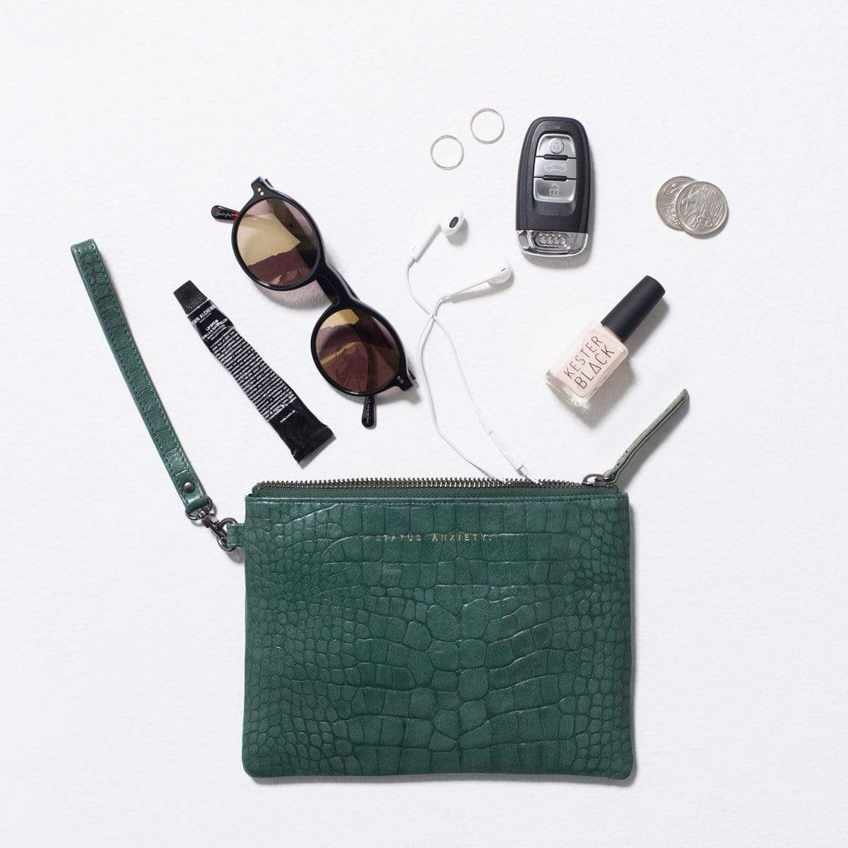 Status Anxiety Bags Status Anxiety | Fixation Clutch - Teal Croc Emboss