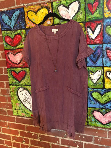 Soft Dusty Maroon Tunic with Raw Hem
