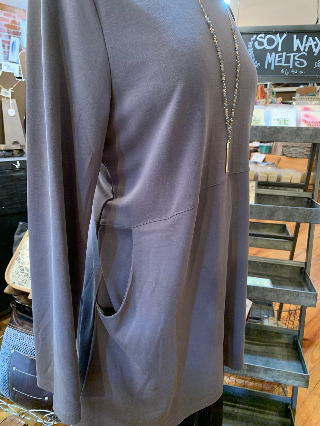 Slate Grey Toofan Top with pockets
