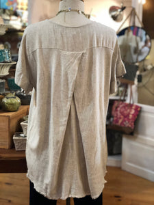 Rayon/linen long top with fringe
