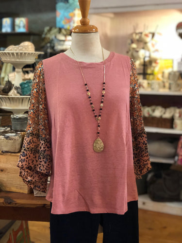 Rayon/linen top with multi-sheer sleeves