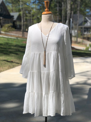 Tiered Dress in Off-White