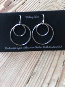 Ken's Handcrafted Earrings - Small Double Circles, Sterling Silver