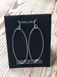 Ken's Handcrafted Earrings - Large Ovals, Sterling Silver