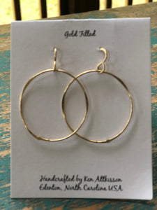 Ken's Handcrafted Earrings - Medium Circles, 14k Gold