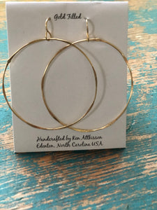 Ken's Handcrafted Earrings - Large Cirlces, 14k Gold