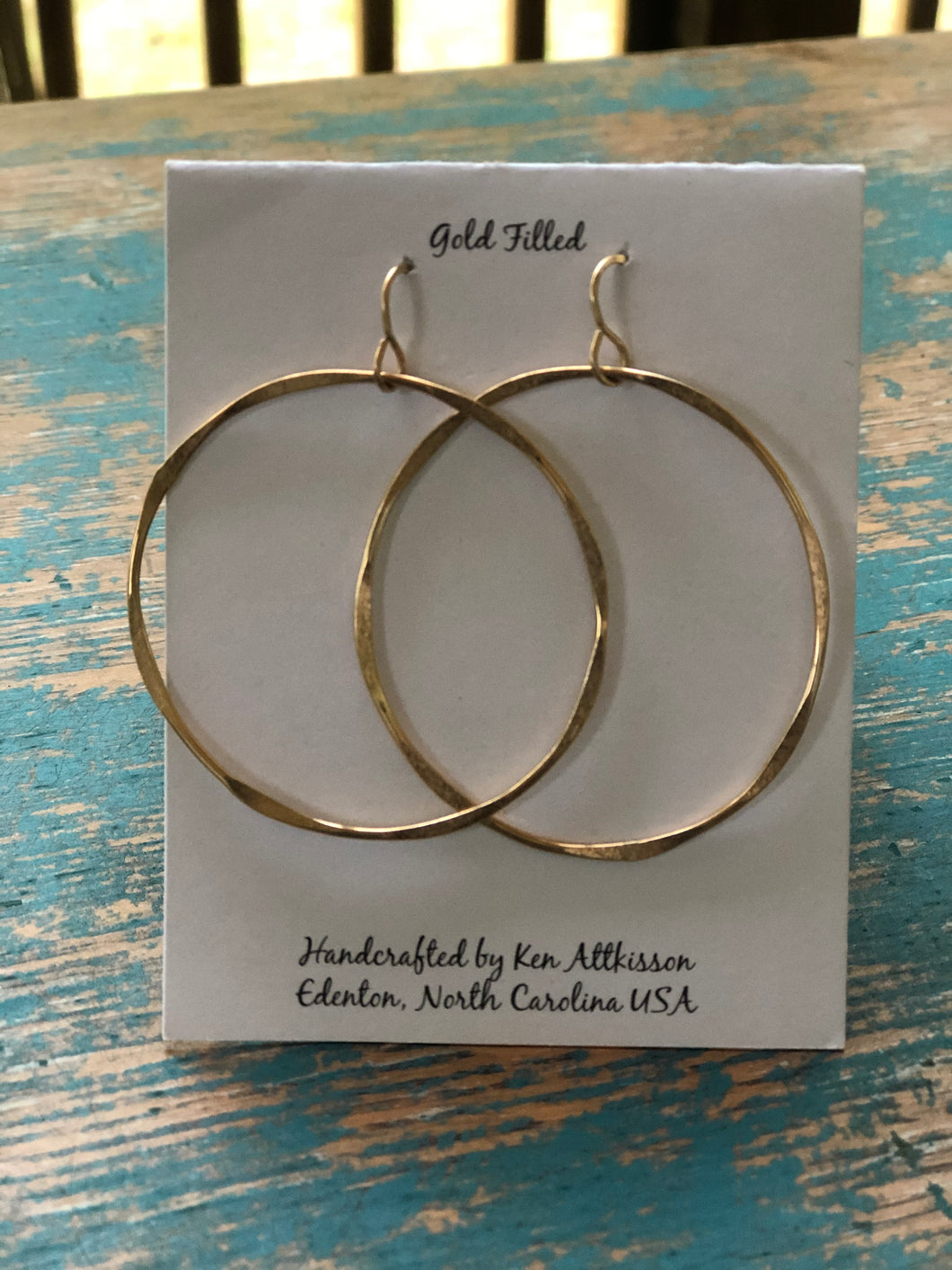 Ken's Handcrafted Earrings - Large Thick Circles, 14k Gold