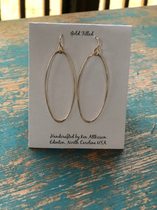 Ken's Handcrafted Earrings - Ovals, 14k Gold