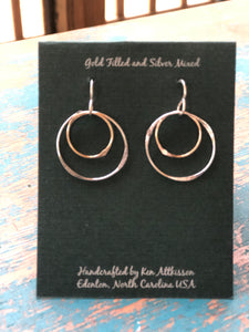 Ken's Handcrafted Earrings - Small Circles, Mixed Metal Sterling/14k Gold