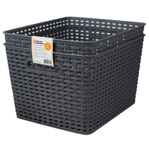 "Home Basics Crossweave 14"" x 11.5"" x 8.75"" Multi-Purpose Stackable Plastic Storage Basket, (Pack of 2), Grey - Grey"