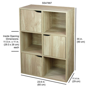 6 Cube Wood Storage Shelf with Doors, Natural