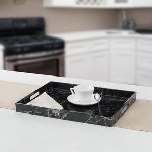 Faux Marble Vanity Tray, Black