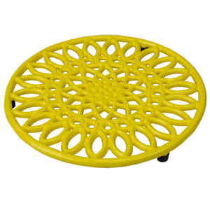 Sunflower Heavy Weight Cast Iron Trivet, Yellow