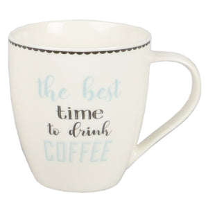 Home Basics The Best Time to Drink Coffee 17 oz. Bone China Mug - Multi-Color