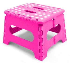 Home Basics Medium Plastic Folding Stool with Non-Slip Dots