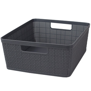 Home Basics Trellis Large Plastic Storage Basket with Cut-Out Handles, Grey - Grey