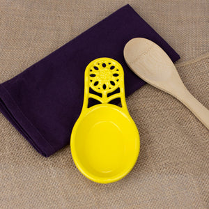 Sunflower Heavy Weight Cast Iron Spoon Rest, Yellow