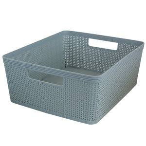 Home Basics Trellis Large Plastic Storage Basket with Cut-Out Handles, Slate - Slate