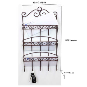 Scroll Collection 3 Tier Steel Letter Rack Organizer, Bronze