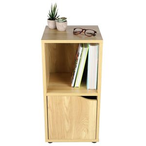 2 Cube Wood Storage Shelf with Doors, Natural