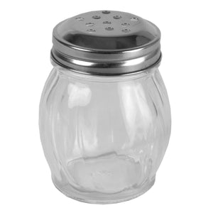 Bulb Shape Swirl Glass Pizza Parlor Style All Purpose Cheese & Spice Condiment Shaker with Stainless Steel Twist-On Lid, Clear