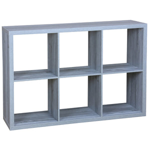 6 Open Cube Organizing Wood Storage Shelf, Grey