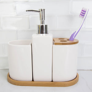 4 Piece Ceramic Bath Accessory Set with Bamboo Accents