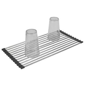 Multi-Purpose Flexible Silicone and Stainless Steel Roll Up Dish Drying Rack, Grey