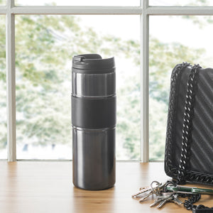 Home Basics Stainless Steel Travel Mug with Rubber Grip - Grey