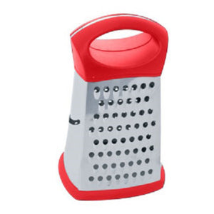 Home Basics Stainless Steel 4 Sided Cheese Grater - Red