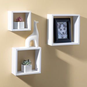 3 Piece MDF Floating Wall Cubes, White