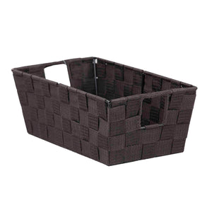 Small Polyester Woven Strap Open Bin, Brown
