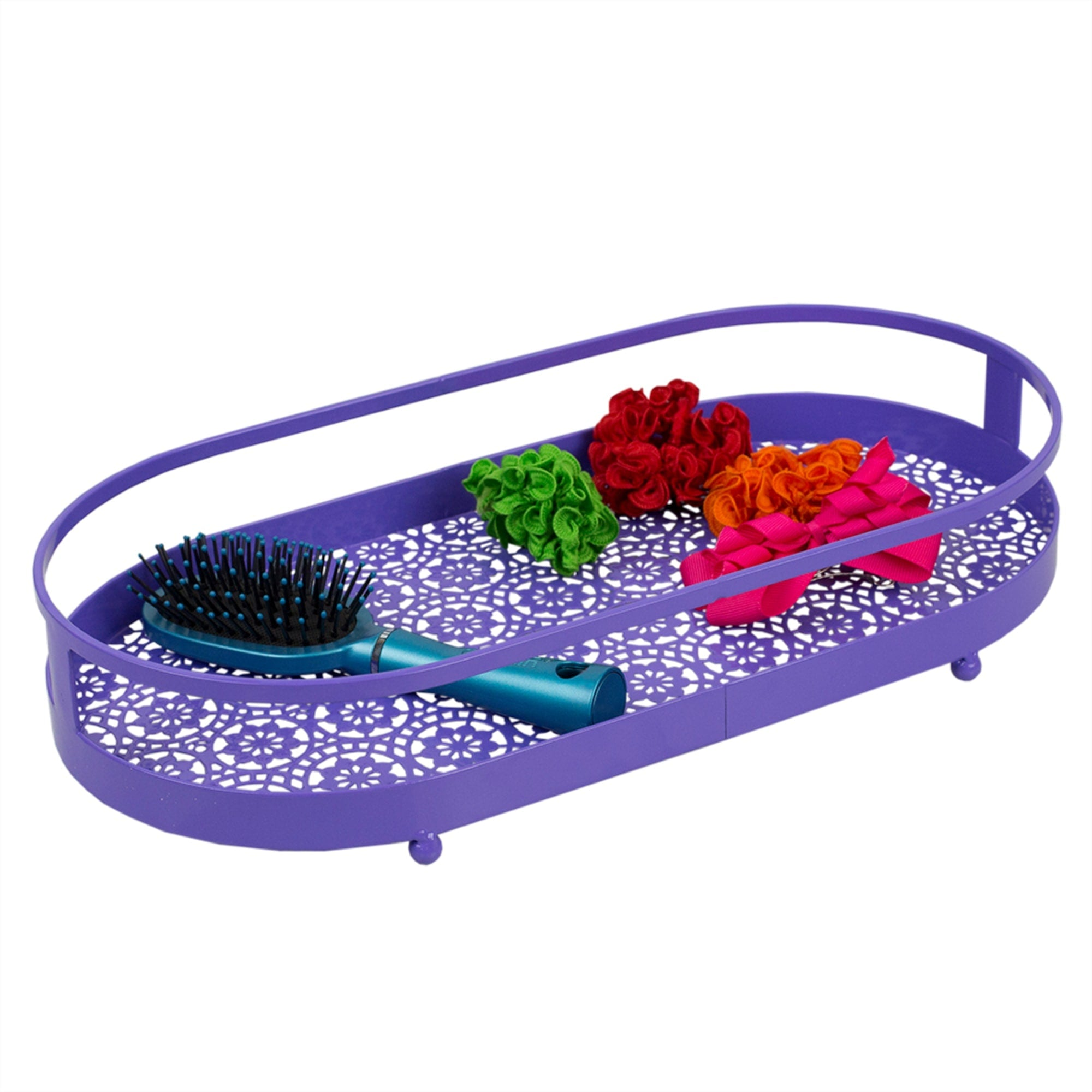 Oval Lace Decorative  Plastic Vanity Tray with Rounded Feet, Purple