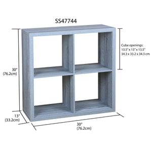 4 Open Cube Organizing Wood Storage Shelf, Grey